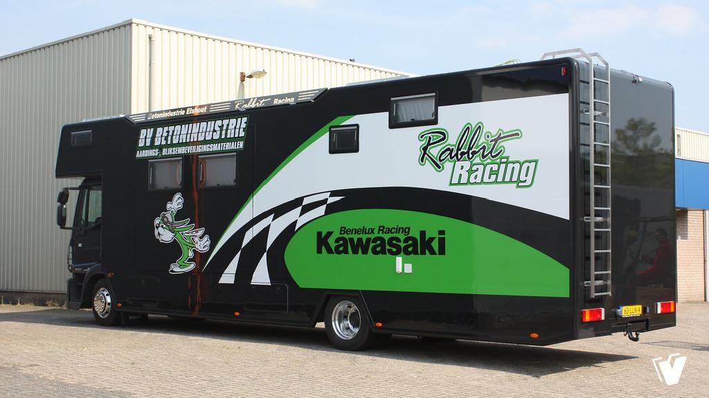 Belettering camper Rabbit Racing Kawasaki